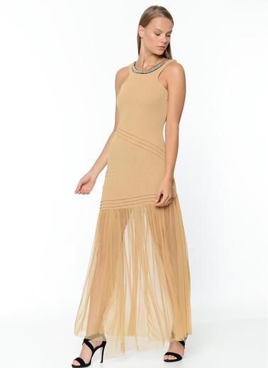 Sense Tül Detaylı Abiye Elbise Sarı